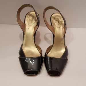 Prada black patent leather peep toe slingback